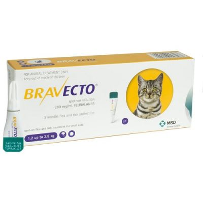 Bravecto 112.5mg Spot-On Solution For Small Cats 1.2-2.8kg(3-6lbs)