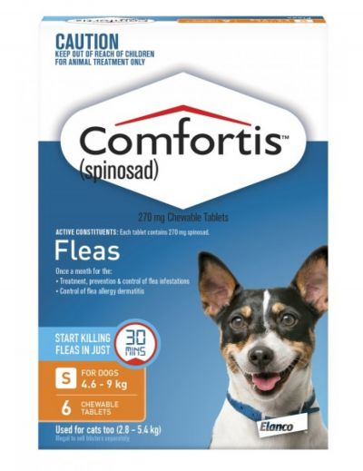 Comfortis (Orange) for Dogs 4.6-9kg (10-20lbs) and Cats 2.8-5.4kg (6-12lbs)