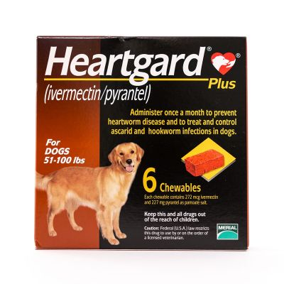 Heartgard Plus (Brown) Chewables for Dogs 51-100lbs(23-45kg), 6 Pack