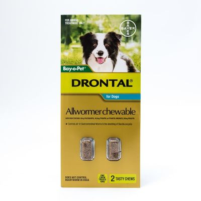 Drontal Allwormer Chewables for Medium Dogs up to 22lbs(10kg), 2 Chews Pack