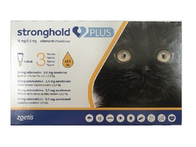 Stronghold Plus 15 mg/2.5 mg spot-on solution for Small Cats up to 2.5kg   (5.5lbs) 3 pack